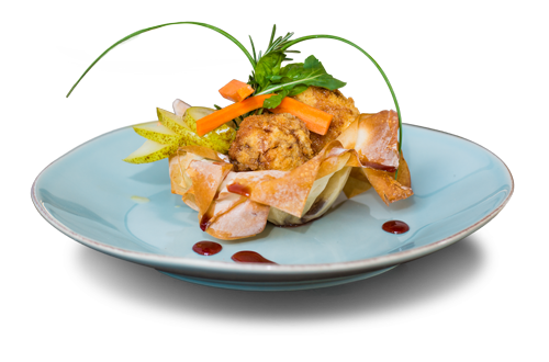 Signature starter Camembert & blue Cheese in Phyllo Basket with berry coulis
